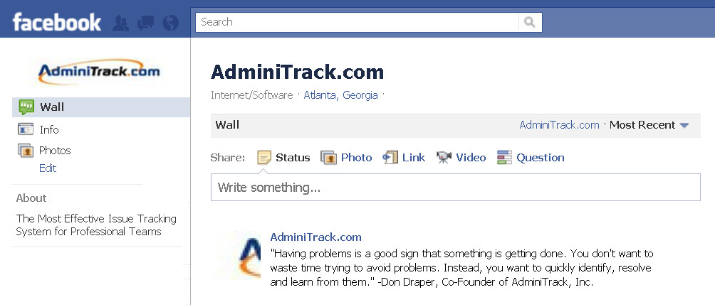 New AdminiTrack Facebook Page